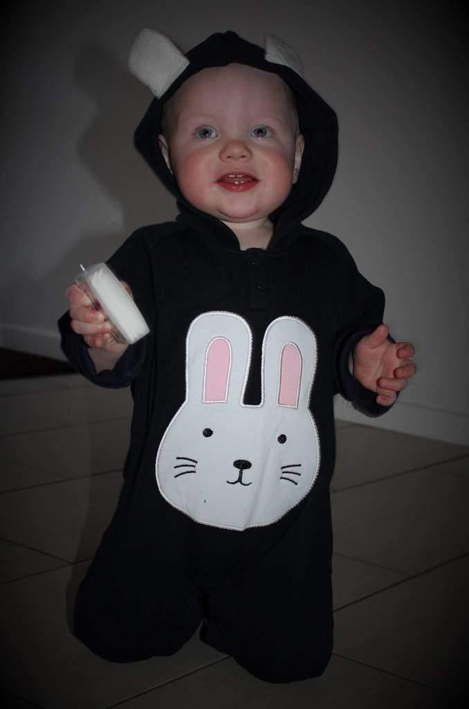 Blå kanin baby heldragt